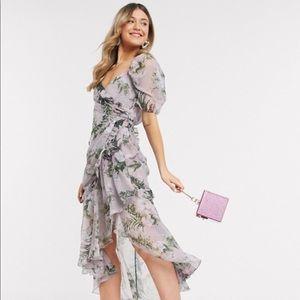 Floral ASOS drape midi dress